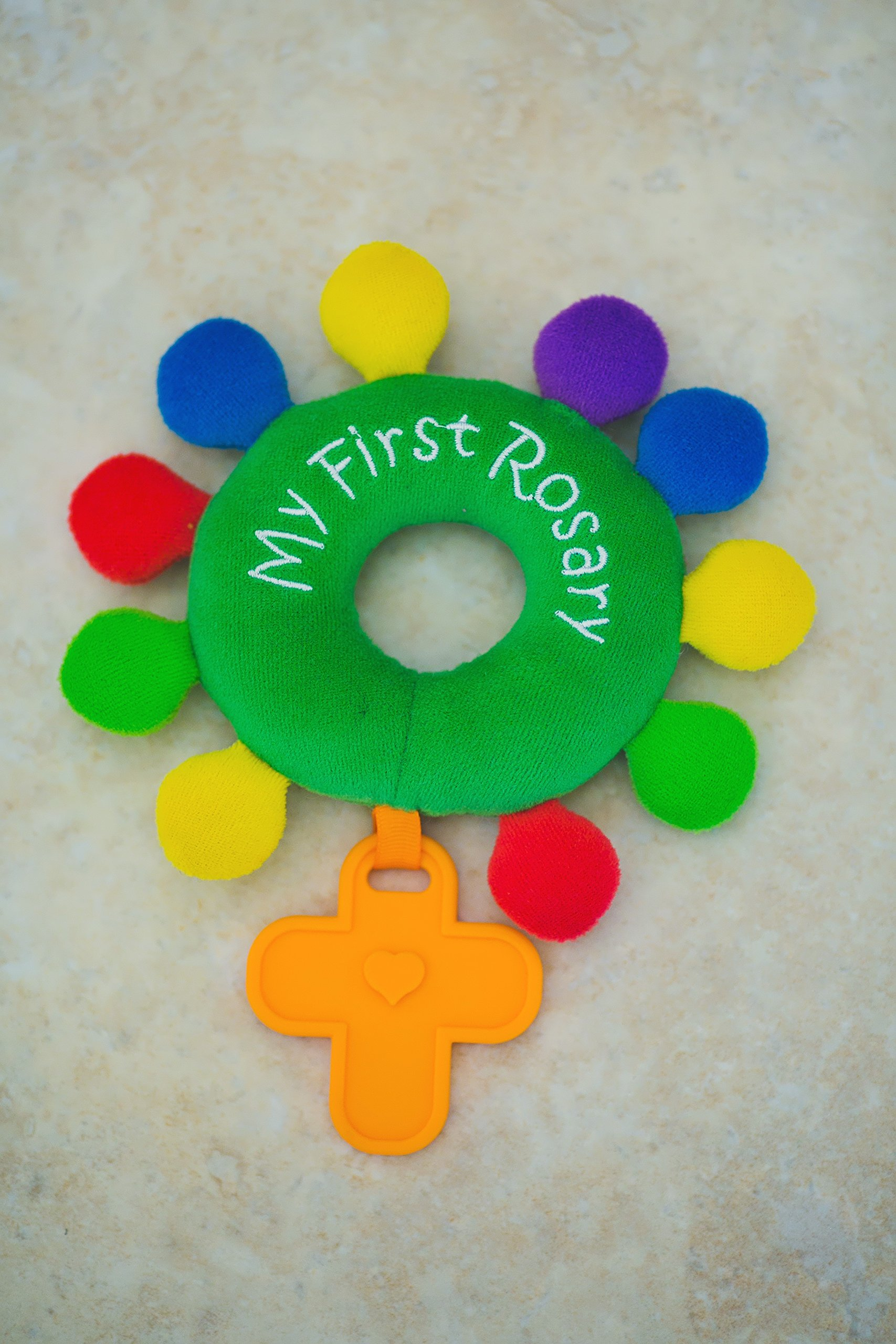 """BABY ROSARY RATTLE """"MY FIRST ROSARY"""" BAPTISM GIFT PLUSH ORDINARY TIME GREEN"""