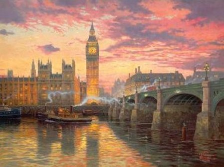 Needlework Crafts French DMC Quality Counted Cross Stitch Kit Oil Painting Dusk in London 2014 New Arrivals Free Ship