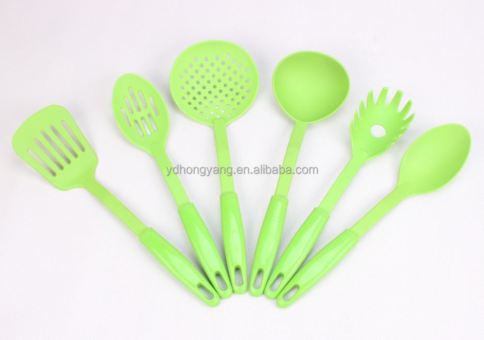 hot sell 6 pieces green color nylon kitchen tools utensils set with plastic pp handle