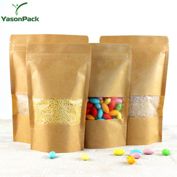 Ziplock Christmas Food Printed Brown Custom Kraft Paper Packaging Bag