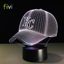 Nieuwigheid MBL Kansas City Chiefs Royals Baseball Cap Illusion LED Nachtlampje Kleurrijke Hologram 3D Bureaulamp voor Home Decor Gifs