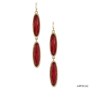 Faceted Red Stone Drop Earrings