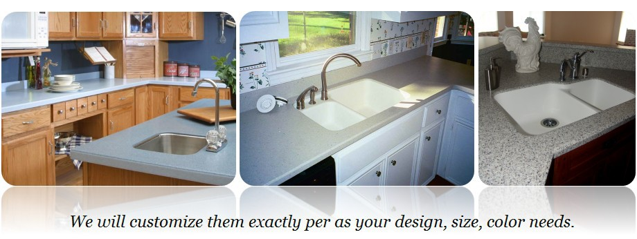 Polymer Concrete Resin Acrylic Solid Surface Kitchen Top