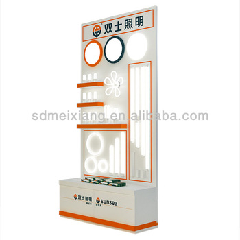 led display cabinet wooden display stand ceiling light display