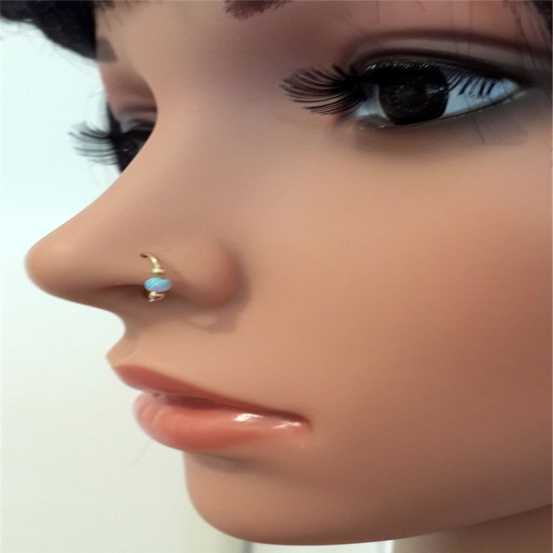 Nose Ring 14k Yellow Gold Filled Double Ball Opal Stone Helix