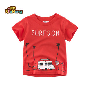 Groothandel custom katoen tee screen printing kinderen t shirt design ambulance auto kids t shirts
