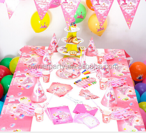 1st Year Princess Birthday Party Supplies Set