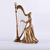 Resin Girl Statue playing the harp for home ornaments