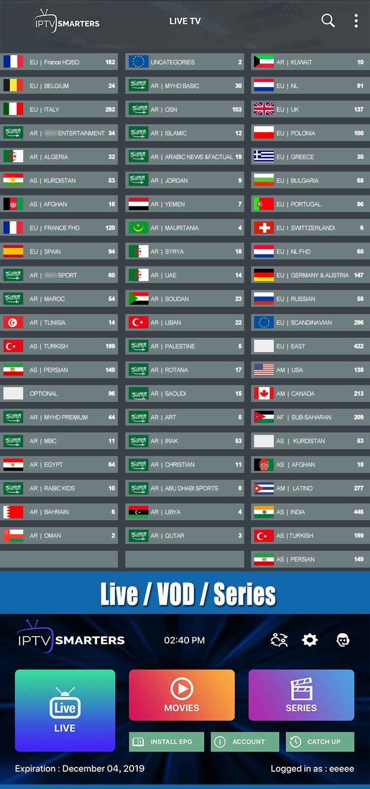 Asia europea iptv USA Iptv rivenditore 50 Paesi 5000 in diretta e vod iptv canale code1year m3u 12 mesi per la spedizione test