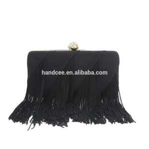 High-end wholesale fashion British style black satin tassel bag
