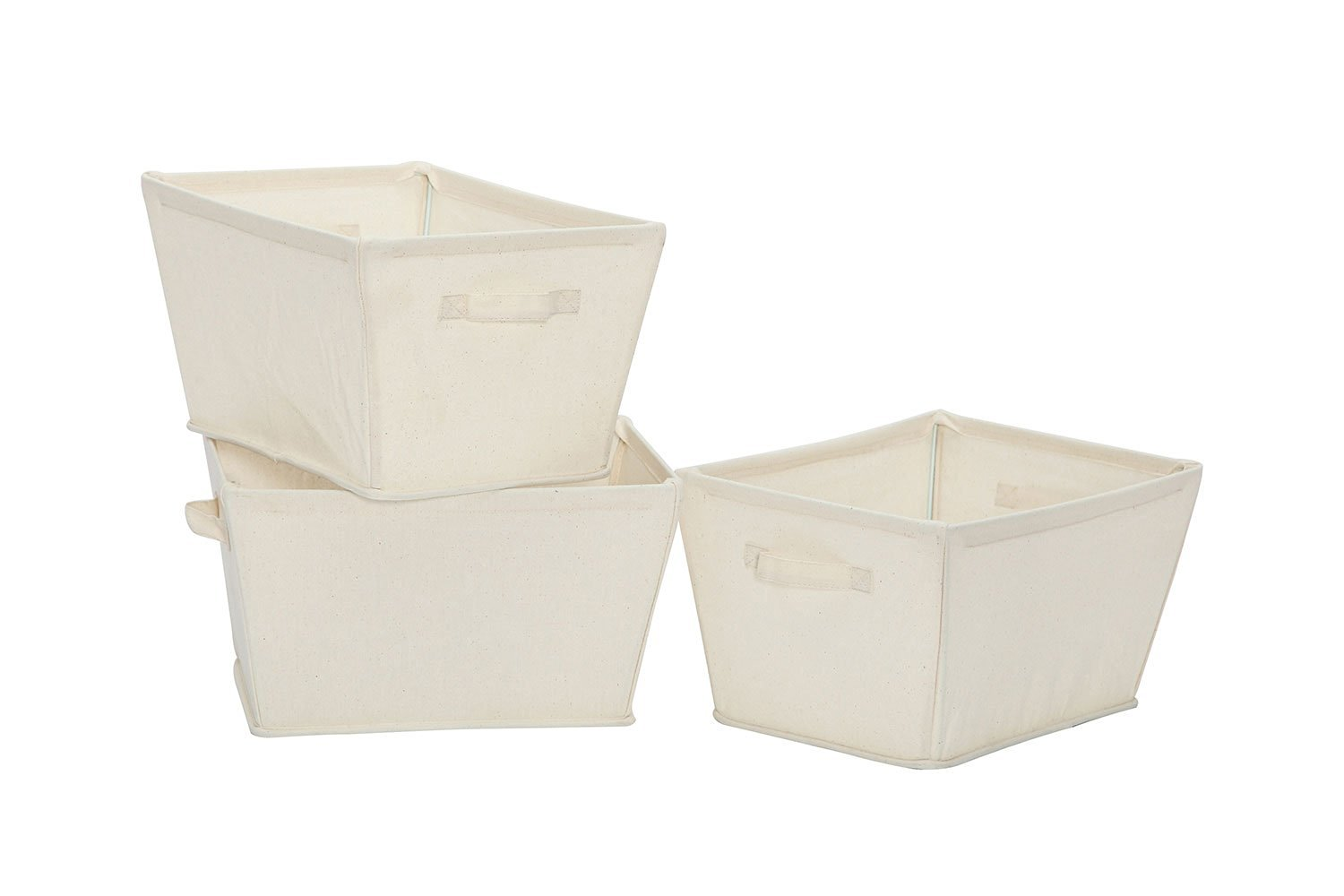 STORAGE MANIAC Large Heavy-Duty Collapsible Canvas Tapered Storage Bin with Handles, White, 3-Pack