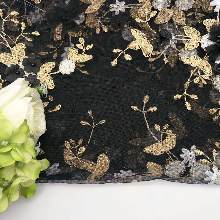 Organza Fabric Type and Polyester / Cotton Material gold tulle lace beaded fabric BK-FB372