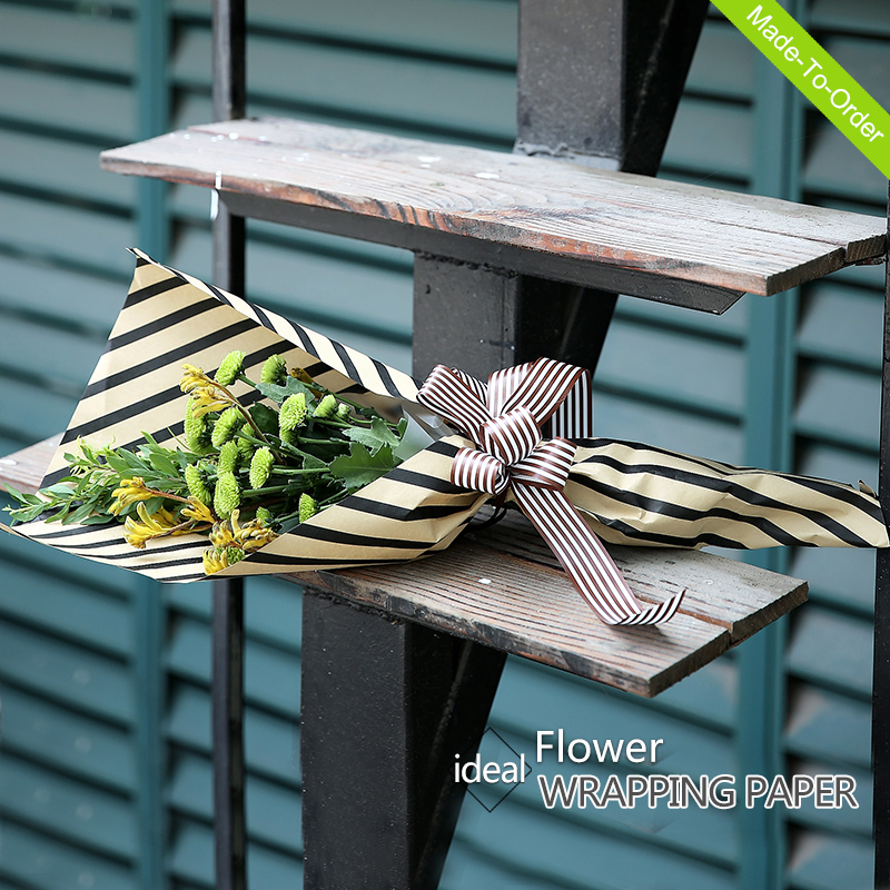 flower wrapper classic high quality elegant striped brown paper