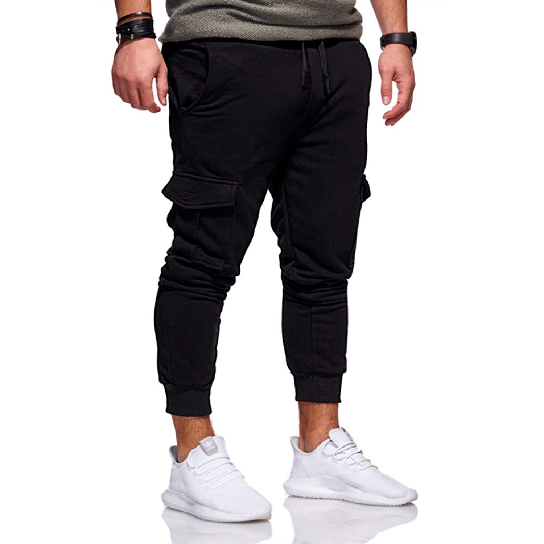 Lutratocro Mens Casual Multi-Pockets Outdoors Ripstop Jogging Cargo Pants