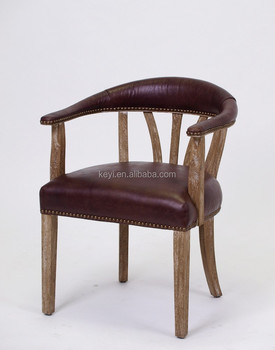 Antique Wooden Leather Arm Dining Chair  Restaurant Chair(ch-262-oak ... 0f31de4b4
