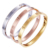 14K high quality women's bracelet stainless steel brand copy love plated gold bangles pictures