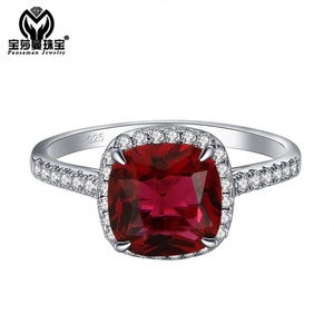 PSM Wholesale Red Coral Stone Garnet 925 Sterling Silver Prong Setting Cluster Rings for Women