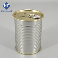 Empty food tin can with easy open lid for canned food packing