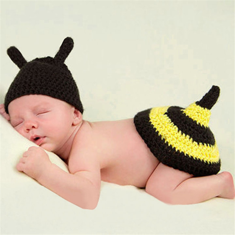 Hot Sale 2016 Baby Costume Photo Photography Prop Toddler Boy Girl Knit Crochet Beanie Animal Bee