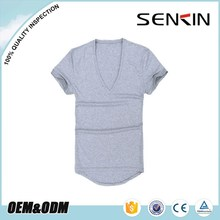 Oem manufacture 60 cotton 40 polyester tshirt branded men v neck shirt