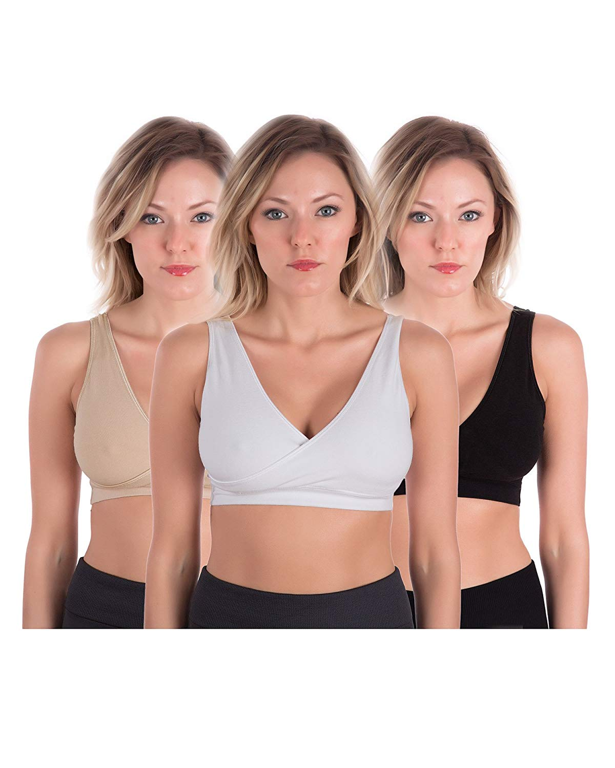 a89f7135d2 Get Quotations · Homma Women s Maternity Wireless Seamless Comfort Sleep Nursing  Bra