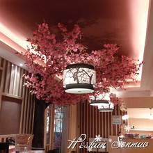China manufacture Artificial Plastic Pink Flowers Cherry Blossom Tree for Wedding Decoration