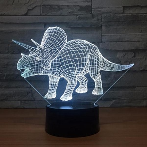 3D Dinosaur Night Light Three Pattern 7 Color Change Decor Illusion Lamp with Remote Control Kids Dinosaur Gifts for Boys