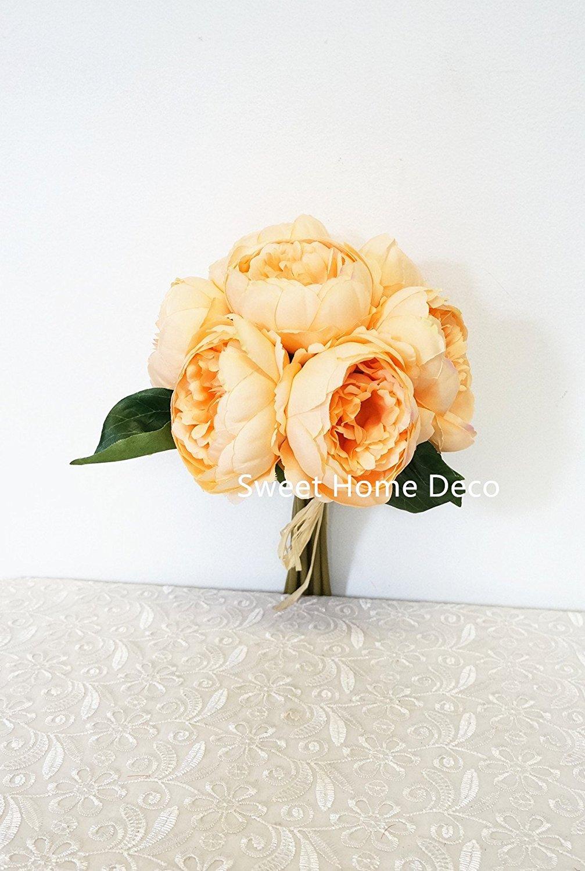 Cheap peach flower bouquet find peach flower bouquet deals on line sweet home deco 11 silk peony artificial flower bouquet weddinghome decorations izmirmasajfo
