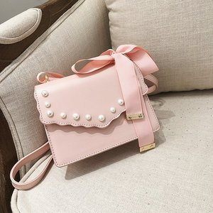 New PU lady crossbody Bag Wholesale Cute Unique Bowknot Handbag Pearl Hand Bag For Women