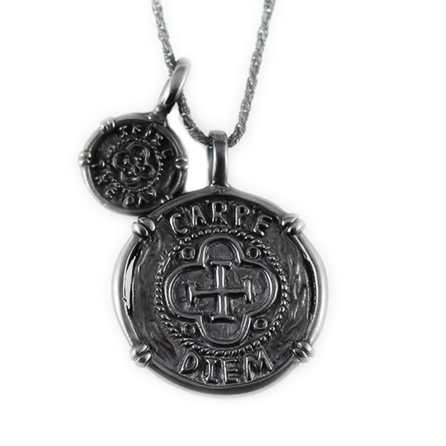 b667f6a250099 Get Quotations · Carpe Diem Jewelry Black Silver Pendant Mens Jewelry Mens  Necklace Black Necklace Black Silver Necklace Men s