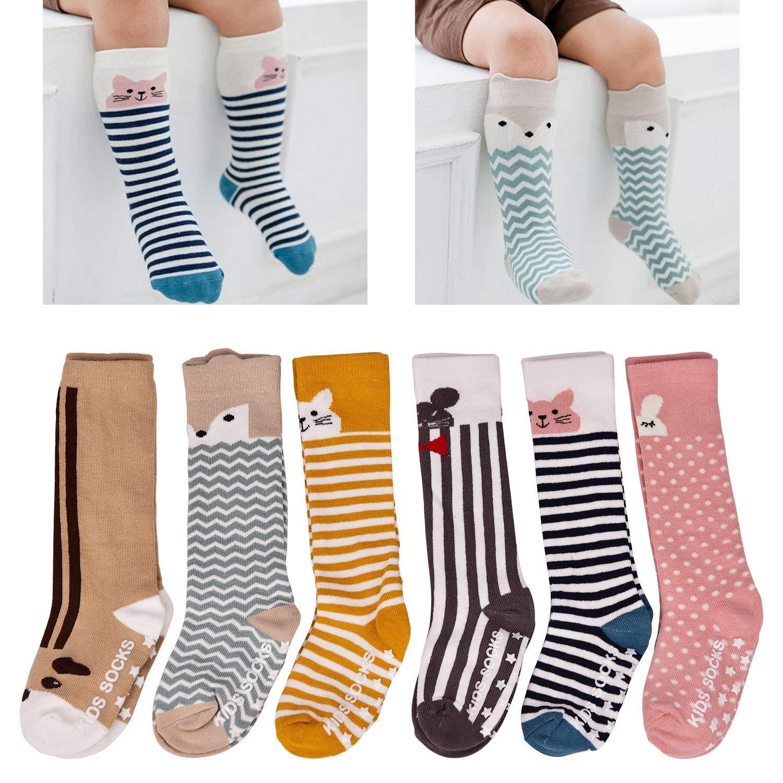 LAISOR 6 Pack Baby Girls Boys Knee High Socks Toddler Non Skid Cotton Socks
