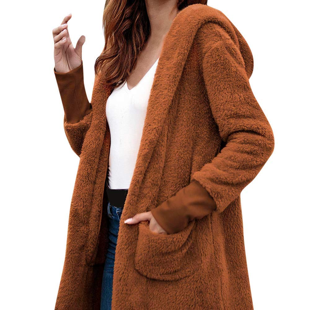 Dreamyth-Winter Women Casual Warm High-End Mid-Length Hooded Plush Pocket Solid Color Coat