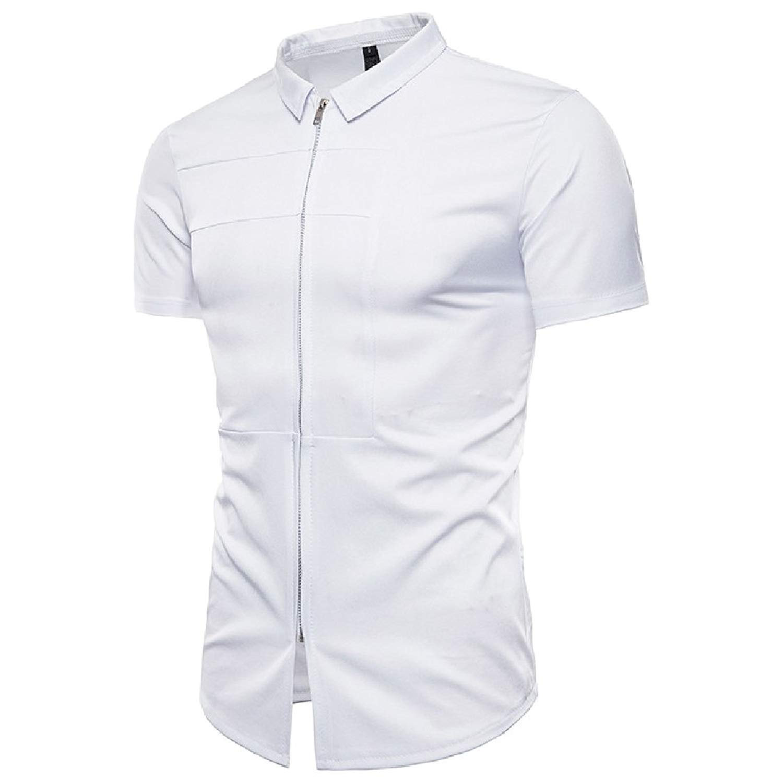 Coolred-Men Standard-fit Zipper Lapel Short-Sleeve Cardigan Shirt