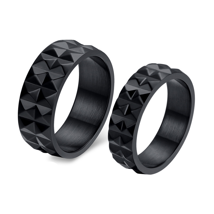 New Fashion Wholesale Couple Black Stainless Steel Titanium Wedding Ring Promise Engagement Wedding Bands Lover Jewelry