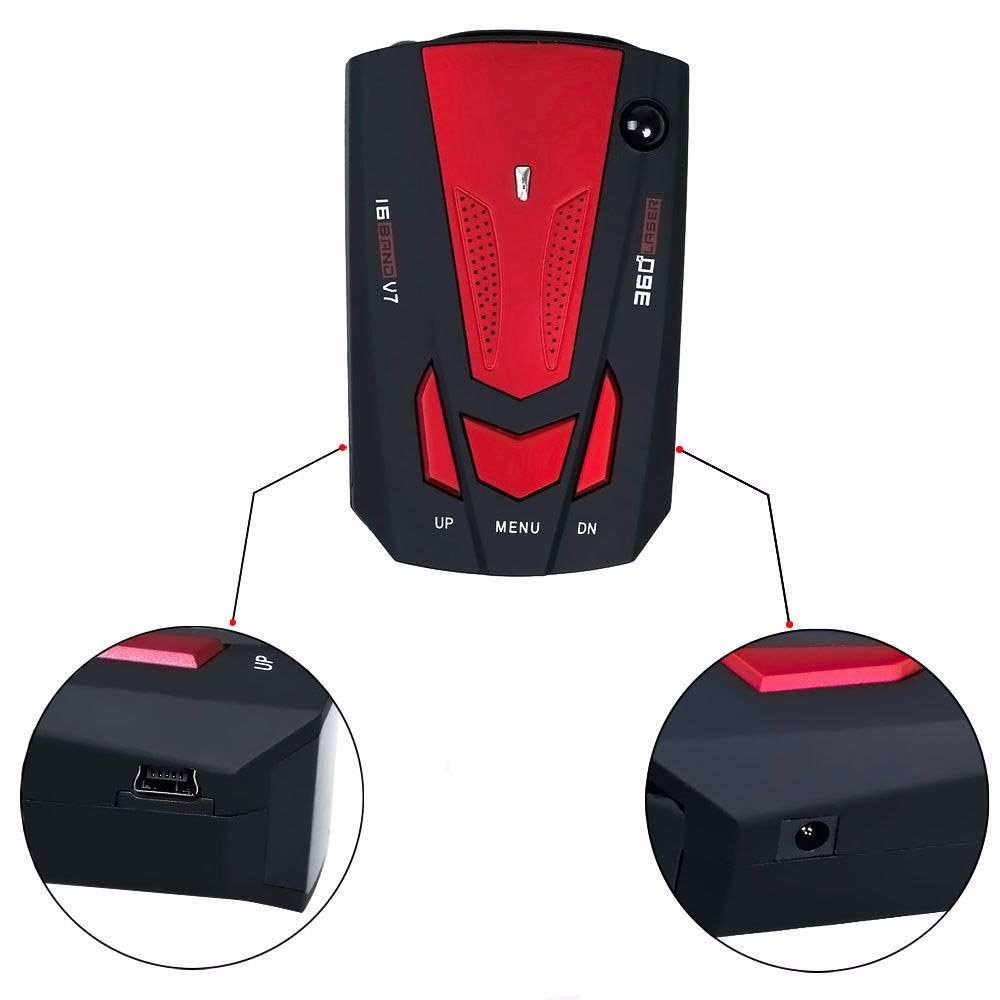 Car Radar Detector V7 16 Band 360 degree car-styling car-detector Voice Alert anti Laser radar detector