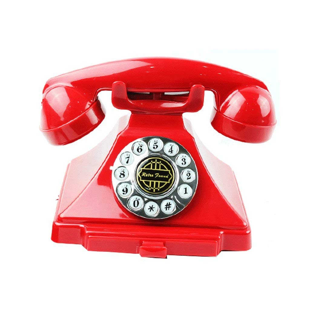 Telephone European antique ABS plastic Have rope fixed, retro creative home office hotel landline phone (Color : Red)