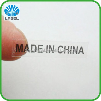 Simple Print Clear Made In China Sticker Small Size Label