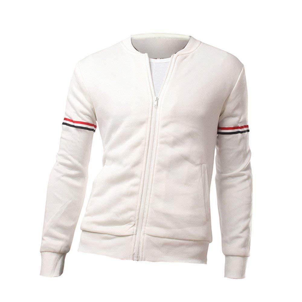 Mens Baseball Jacket,Winter Varsity Striped Long Sleeve Bomber Jacket Slim Fit Outwear Coat Zulmaliu