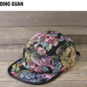 Floral corduroy Flat Brim Custom painted hard hats 5 Panel Hat wholesale 523bf657ad7