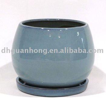 Indoor Round Ceramic Garden Pot With Saucer - Buy Ceramic Garden ...
