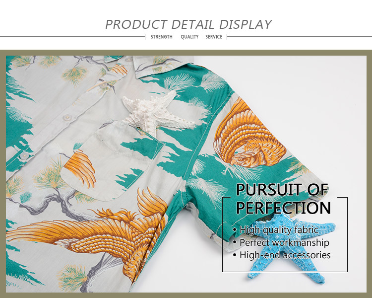 Factory price short sleeve plain design colorful breathable hawaiian mens shirt tropical