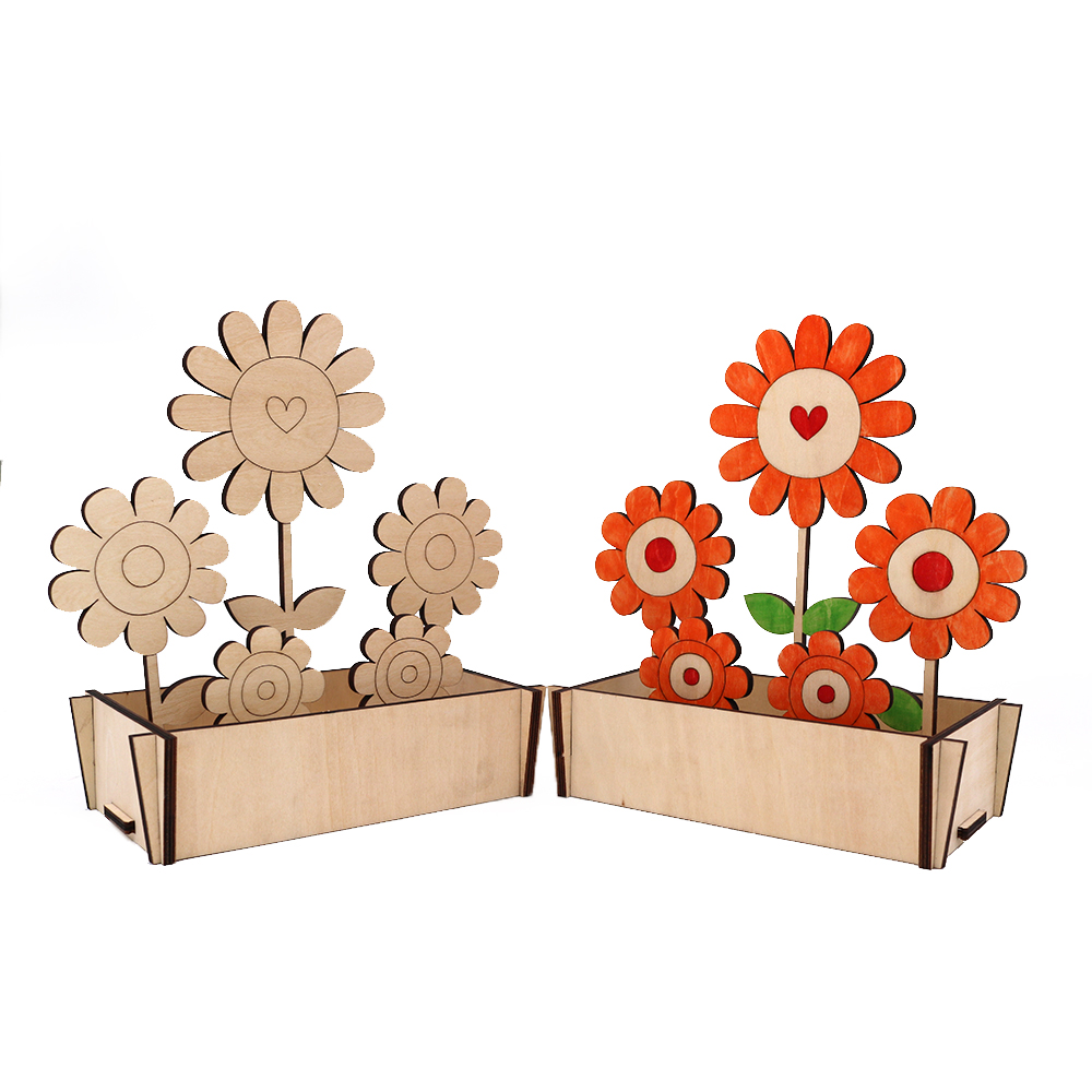 Unpainted wooden solar flower toys for education