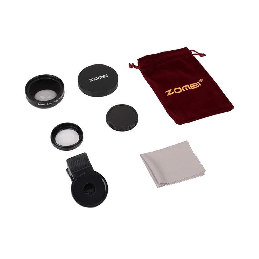 Jili Online Zomei HD Tablet Lens Kit 0.45XSuper Wide Angle Macro Lens Clip-On Cell Phone Black