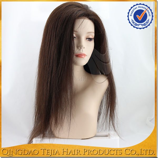 wholesale kinky Straight Brazilian Virgin Hair 100% Human Hair Silk Base Full Lace Wig