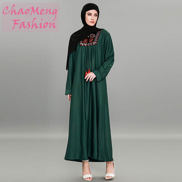 9070# New long sleeve with ethnic embroidery green latest design muslim dresses women dubai