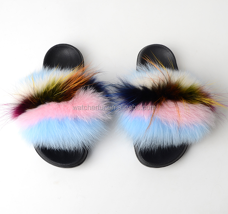 Hot Selling Women Fox Fur <strong>Slippers</strong> / Sandals Silver Sole Fluffy <strong>Slippers</strong>/Soft Fluffy Fox Fur Slide <strong>Slippers</strong> For Women