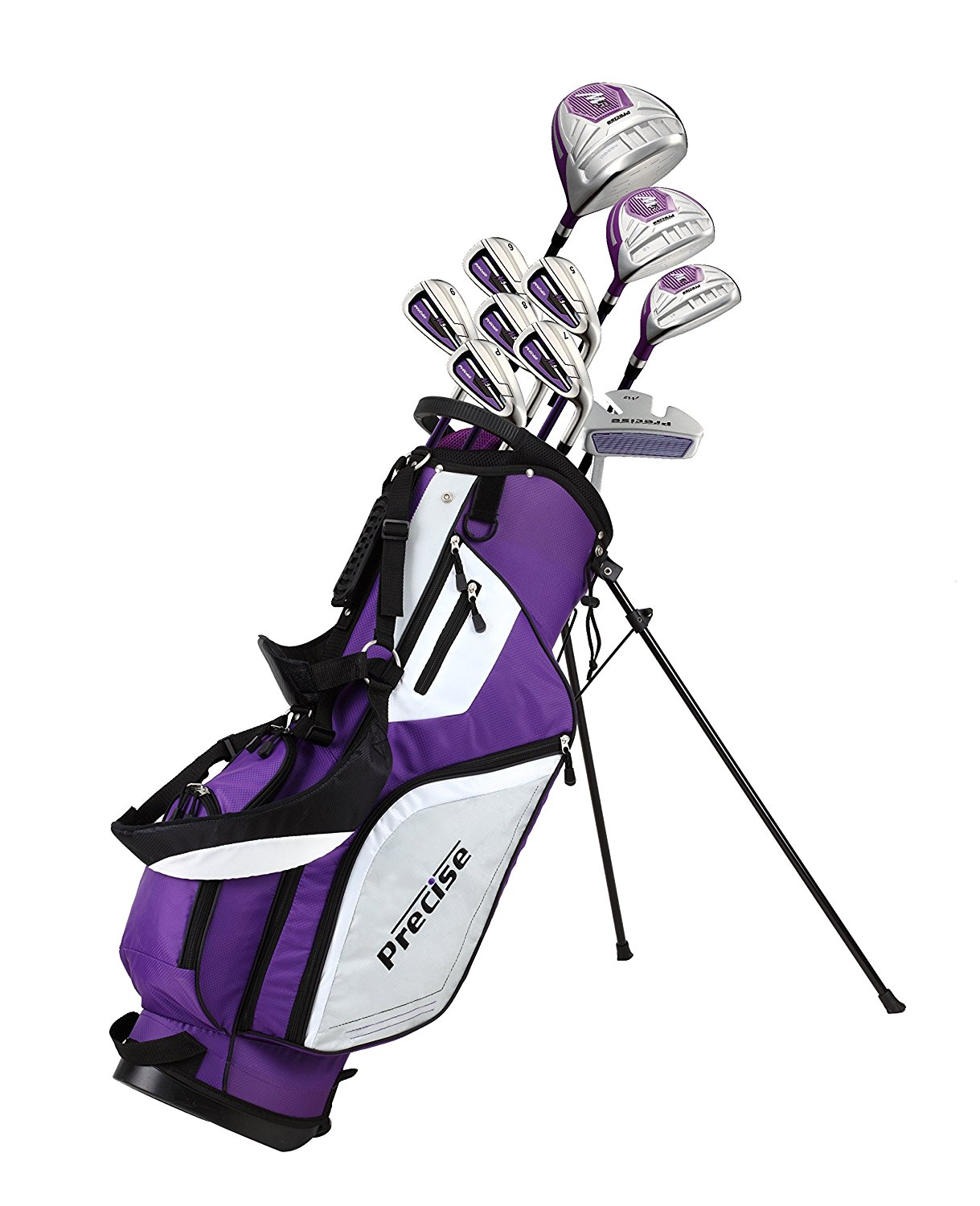 Precise M5 Ladies Womens Complete Right Handed Golf Clubs Set Includes Titanium Driver, S.S. Fairway, S.S. Hybrid, S.S. 5-PW Irons, Putter, Stand Bag, 3 H/C's Purple