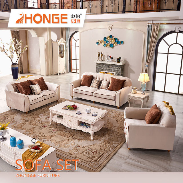 Living Room Antique Classical Wood Carving Turkish Style Furniture House  Luxury Velvet Fabric Sofa Set