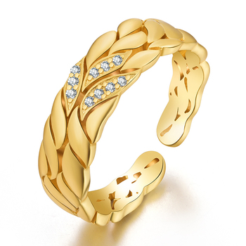 High quality silver jewelry handmade adjustable gold plated ring for women