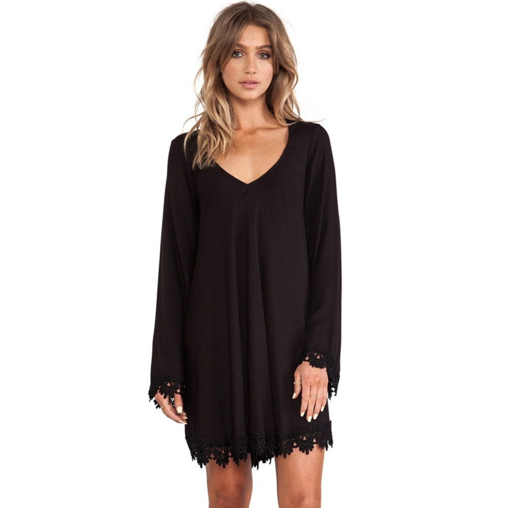 Black Lace Trim Long Sleeve Casual Mini Dress YS22760-2